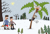Cartoon: New Year tree (small) by Sergei Belozerov tagged palm,palme,tannenbaum,weihnachten,weihnachtsbäume,tanne,new,year,tree,christmastree,wald,forest,monkey,affe,holzfällerr