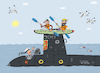 Cartoon: Tiefes Blaues Meer (small) by Sergei Belozerov tagged kayak,submarine,sailor,seemann,abenteuer,paddel,canoe,wasser
