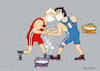 Cartoon: Training day (small) by Sergei Belozerov tagged corona,coronavirus,illness,epidemia,mask,sport,wrestling,italy,germany,soap,water
