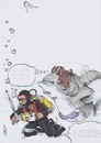 Cartoon: Speisekarte Menue (small) by secretcircle tagged diver,ocean,fish,water,salt,deep,taucher,ozean,fantasy,shark,hai,haie,sharky,coocoo,mermaid
