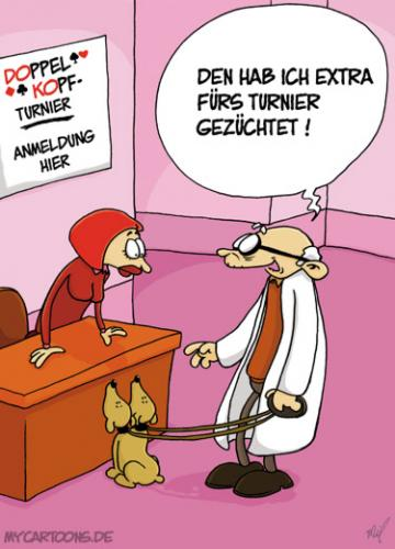 Cartoon: Doppelkopf (medium) by mil tagged doppelkopf,hund,kartenspiel,turnier,professor,experiment,mil,