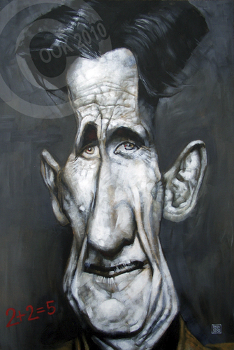 Cartoon: George Orwell (medium) by Russ Cook tagged acrylic,canvas,painting,1984,zeichnung,karikaturen,karikatur,caricature,cook,russ,orwell,george