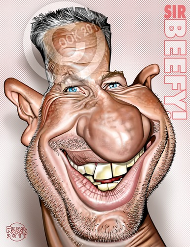 Cartoon: Ian Botham - In Colour! (medium) by Russ Cook tagged face,head,cook,russ,photoshop,cintiq,wacom,airbrush,paint,drawing,digital,illustration,caricatures,caricature,cartoon,charity,walking,drugs,ashes,match,test,bowler,somerset,england,sport,batsman,cricketer,cricket,beefy,botham,ian,sir