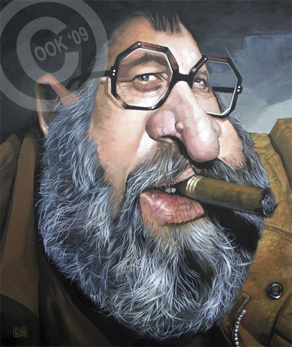 Cartoon: Sergio Leone (medium) by Russ Cook tagged cook,russ,director,producer,acrylic,painting,caricature,western,spaghetti,zeichnung,karikaturen,karikatur,celebrity,famous,film,leone,sergio