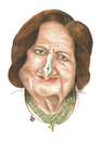 Cartoon: Helen Thomas..The Green Pen (small) by samir alramahi tagged helen,thomas,american,author,reporter,white,house,press,corps,bureau,chief,national,club,israel,comments,palestine,ramahi,cartoon,portrait