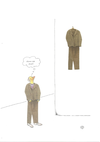 Cartoon: Man trägt Beuys ... (medium) by Erwin Pischel tagged pischel,museum,suit,veste,anzug,jacket,jacke,pantalon,trousers,hose,vetements,clothing,clothes,kleidung,art,modern,kunst,moderne,feutre,de,complet,multiple,filzanzug,beuys,joseph