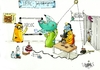 Cartoon: Scientists... (small) by The Fatbird Conspiracy tagged portal2,portal,chemistry,science,fun,work,hard,dioxin,periodic,table,wheatley,cake,explosion,concentration,chaos