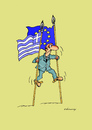 Cartoon: Greece stilts (small) by Dubovsky Alexander tagged greece,stilts,flag,problem,default