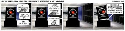 Cartoon: BDD - 0000 (medium) by danidemi tagged server,hal,9000,al,capone,computer,citazione,cinematografica,2001,odiseea,nello,spazio,bdd,bug,driven,development