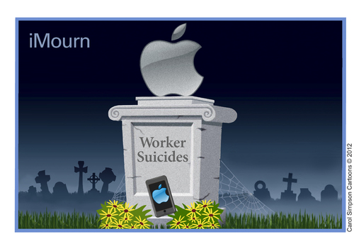 Cartoon: iMourn (medium) by carol-simpson tagged unions,iphone,ipad,labor,suicides,apple