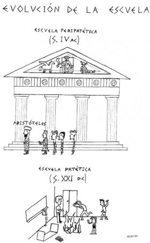 Cartoon: EVOLUCION DE LA ESCUELA (medium) by bioscopo tagged educacion,education,escuela,school,evolucion,evolution