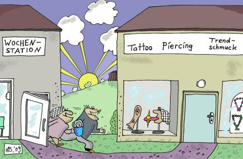 Cartoon: Nach der Geburt (medium) by Leichnam tagged tattoo,piercing,trendschmuck,wochenstation