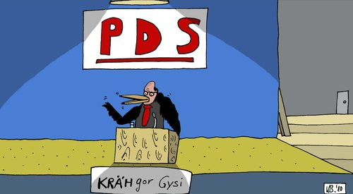 Cartoon: PDS (medium) by Leichnam tagged pds,gysi,politik,bundestag,rede,bühne,krähe