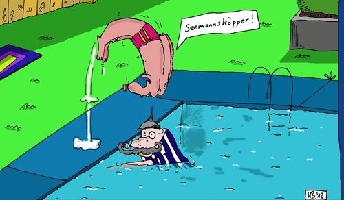 Cartoon: Seemannsköpper (medium) by Leichnam tagged badespaß,sonne,freizeit,kopfsprung,seemannsköpper,freibad,schwimmen,körperertüchtigung,pickelhaube
