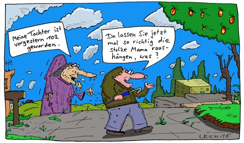 Cartoon: Tochter (medium) by Leichnam tagged tochter,102,stolze,mama,alte,frau,hohes,alter