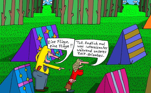 Cartoon: Toll. (medium) by Leichnam tagged toll,fliege,insekt,interessant,urlaub,zelt,campen