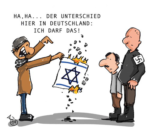 Cartoon: Unterschied (medium) by Trantow tagged israel,jerusalem,palästinenser,juden,neonazi,demo,fahne,berlin,israel,jerusalem,palästinenser,juden,neonazi,demo,fahne,berlin