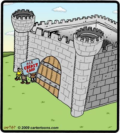Cartoon: Credit card castle break in (medium) by cartertoons tagged credit,card,castle,medieval,gate