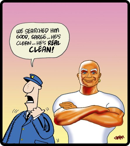 Cartoon: Mr Clean (medium) by cartertoons tagged mr,clean,police,corporate,mascots,crime,fraud,mr,clean,police,corporate,mascots,crime,fraud
