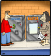 Cartoon: Barter Machine (small) by cartertoons tagged caveman,vending,machines,change,money,barter,bartering,hunter,gatherer