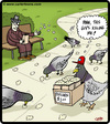 Cartoon: Pigeon undercutter (small) by cartertoons tagged pigeons,birds,animals,popcorn,food,feeding,parks,sales,selling,business
