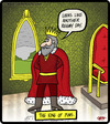 Cartoon: The king of puns (small) by cartertoons tagged kings,kingdoms,palace,castle,puns,throne,room,rain,reign