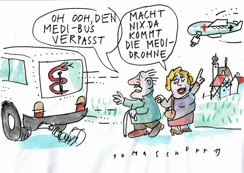 Cartoon: Medizin auf dem Land (medium) by Jan Tomaschoff tagged landarztmangel,medibus,landarztmangel,medibus