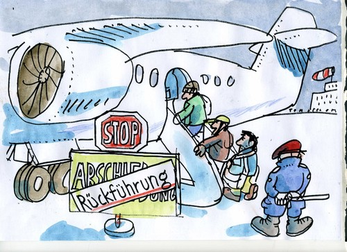 Cartoon: Rückführungskosmetik (medium) by Jan Tomaschoff tagged migration,migration