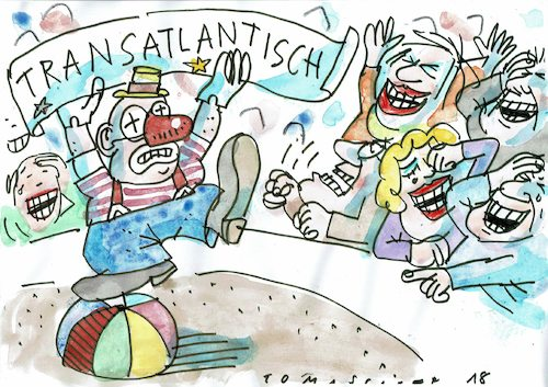 Cartoon: transatlantisch (medium) by Jan Tomaschoff tagged usa,europa,trump,zölle,usa,europa,trump,zölle
