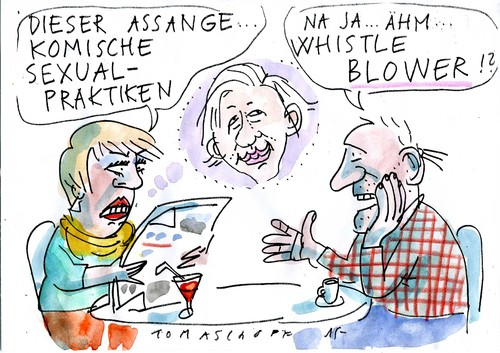 Cartoon: Whistle blower (medium) by Jan Tomaschoff tagged assenge,assenge,sex