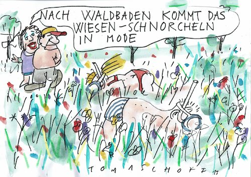 Cartoon: Wiese (medium) by Jan Tomaschoff tagged waldbaden,natur,wiese,waldbaden,natur,wiese