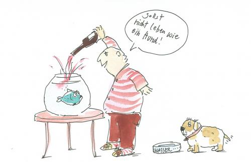 Cartoon: Kein Hundeleben (medium) by nele andresen tagged hund,fisch,wein,wasser