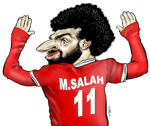 Cartoon: Mohamed Salah (medium) by Damien Glez tagged mohamed,salah,football,egypt,mohamed,salah,football,egypt
