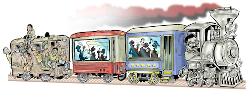 Cartoon: Societys train (medium) by Damien Glez tagged society,poor,rich,inequalities,society,poor,rich,inequalities
