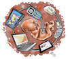 Cartoon: interconnection (small) by Damien Glez tagged interconnection,screen,social,networks,internet,computer