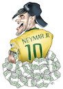 Cartoon: Neymar junior (small) by Damien Glez tagged footballer,neymar,brazilian,paris,football