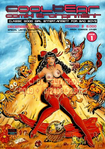 Cartoon: CoolBear ComiX Cover (medium) by FeliXfromAC tagged aachen,girls,the,cutie,illustration,china,bear,stockart,horst,reinhard,alias,felix,50th,poster,glamour,woman,girl,bad,wallpaper,up,pin,erotik,erotic,nacked,frau,sexy,cartoon,comic,coolbear,comix,rotkäppchen,little,red,riding,hood,cover,fetisch,fetish