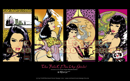 Cartoon: The FeliX Pin Up Girls Sampler! (medium) by FeliXfromAC tagged the,felix,pin,upg,girls,alias,reinhard,horst,design,line,aachen,pinup,erotik,art,germany,comic,cartoon,illustration,illustrator