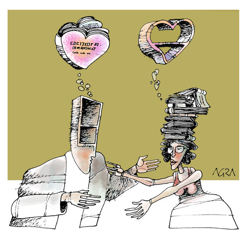 Cartoon: Complementation (medium) by AGRA tagged books,girlfriend,couple,love