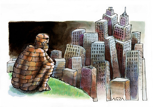 Cartoon: Paisaje (medium) by AGRA tagged nature,city,population,construction