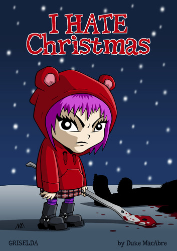 Cartoon: I hate Christmas (medium) by volkertoons tagged snow,schnee,winter,bad,evil,böse,girl,mädchen,karte,postkarte,card,greeting,grußkarte,holidays,christmas,xmas,weihnachten,funny,fun,lustig,humor,volkertoons