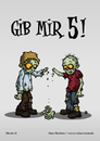 Cartoon: Gib mir 5! (small) by volkertoons tagged volkertoons,cartoon,zombies,untote,undead,humor,lustig,spaß,fun,funny,grußkarte,postkarte,karte,greeting,card