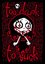 Cartoon: Too Drunk To Suck (small) by volkertoons tagged volkertoons,nosfera,vampir,vampire,vampires,vampiress,vicious,böse,vampöse,evil,bad,blut,blood,fangs,mädchen,girl,punk,rock,dead,kennedys,alkohol,alcohol,drink,drunk