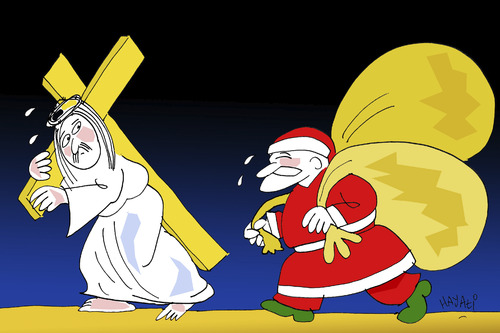Cartoon: Begegnung (medium) by Hayati tagged boyacioglu,hayati,weihnachten,yil,yeni,noel,begegnung,nikolaus,saint,consumerism,encounter,weihnachtsmann,christus,jesus,weihnachten,jesus christus,weihnachtsmann,last,kreuz,schleppen,jesus,christus