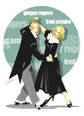 Cartoon: GINGER ROGERS-FRED ASTAIRE (small) by donquichotte tagged dancing