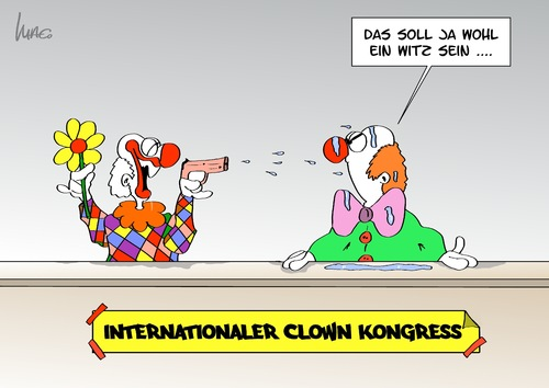 Cartoon: Clownkongress (medium) by Marcus Gottfried tagged clown,clownkongress,kongress,spass,ärgern,blume,wasserpistole,international,witz