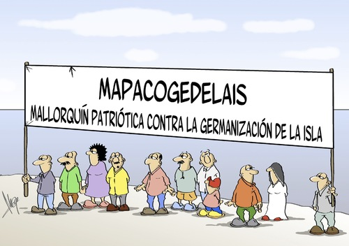 Cartoon: Mallorca Patriot (medium) by Marcus Gottfried tagged mallorca,patriot,fear,island,spain,foreigner,guest,stranger,spanish,german,resident,culture,marcus,gottfried,cartoon,caricature,mallorca,patriot,fear,island,spain,foreigner,guest,stranger,spanish,german,resident,culture,marcus,gottfried,cartoon,caricature