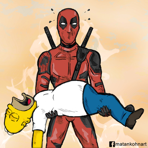 Cartoon: Deadpool and Homer simpson (medium) by matan_kohn tagged caricature,comics,deadpool,funny,homersimpson,marvel,movie,simpson,thesimpsons,deadpoolmarvel