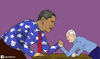 Cartoon: bibi and obama (small) by matan_kohn tagged bibi,obama,cartoon,caricture