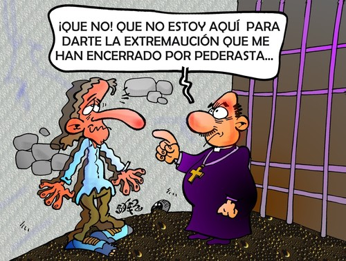 Cartoon: PROBLEMAS EN LA IGLESIA CATOLICA (medium) by SOLER tagged iglesia,carcel,pederasta